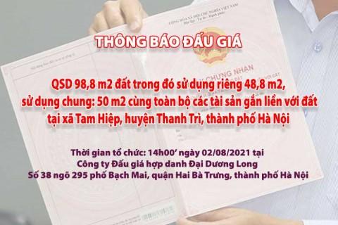 Đấu giá QSD đất ngày 02/08/2021 tại xã Tam Hiệp, huyện Thanh Trì, TP Hà Nội