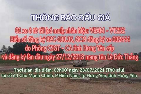 Đấu giá xe Veam - Cục thi hành án Yên Mỹ ngày 23/07/2021