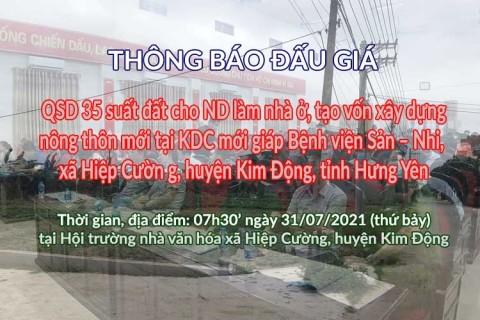 Đấu giá QSD 35 suất đất ngày 31/07/2021 tại xã Hiệp Cường, Kim Động, tỉnh Hưng Yên