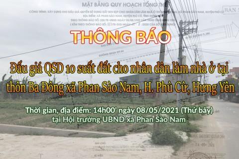 Thông báo Đấu giá tài sản chiều ngày 08 tháng 05 năm 2021 tại xã Phan Sào Nam