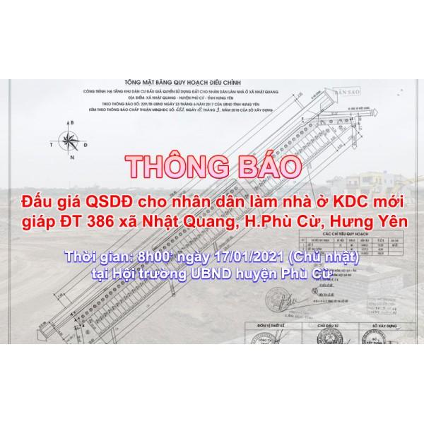 Đấu giá QSD 04 suất đất ngày 17/01/2021 tại xã Nhật Quang, Phù Cừ, tỉnh Hưng Yên