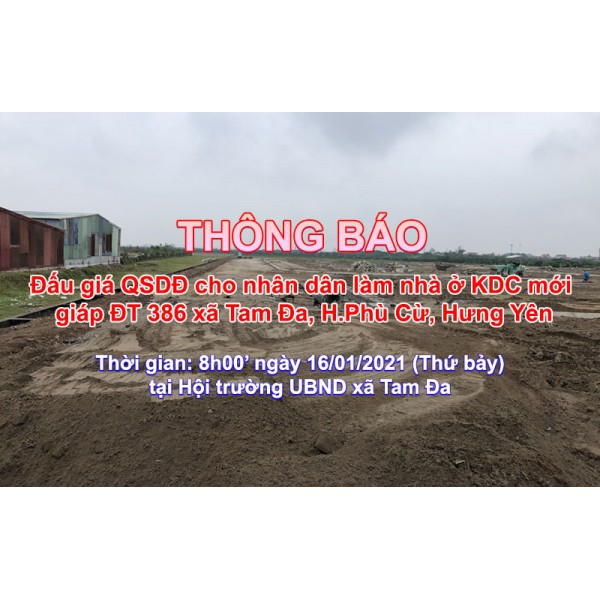 Đấu giá QSD 80 suất đất ngày 16/01/2021 tại xã Tam Đa, Phù Cừ, tỉnh Hưng Yên
