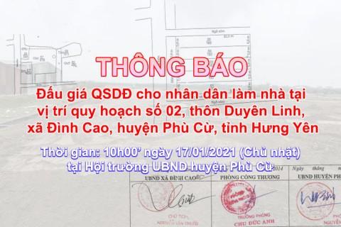 Đấu giá QSD 05 suất đất ngày 17/01/2021 tại xã Đình Cao, Phù Cừ, tỉnh Hưng Yên