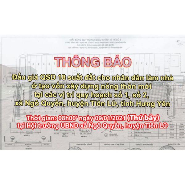 Đấu giá QSD 18 suất đất ngày 09/01/2021 tại xã Ngô Quyền, huyện Tiên Lữ, tỉnh Hưng Yên