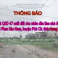 Thông báo Đấu giá tài sản sáng ngày 08 tháng 05 năm 2021 tại xã Phan Sào Nam