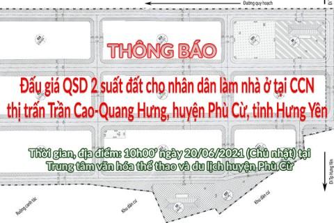 Đấu giá QSD 02 suất đất ngày 20/06/2021 tại Cụm Công nghiệp Trần Cao Quang Hưng