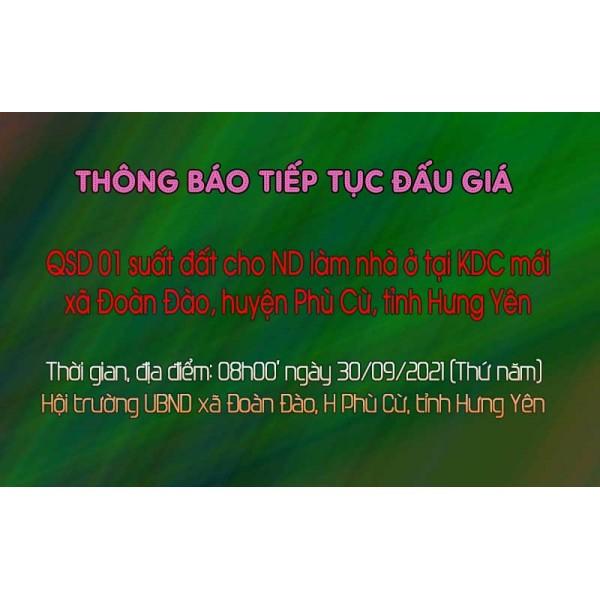 Thông báo tiếp tục tổ chức 01 suất đất tại xã Đoàn Đào, huyện Phù Cừ, tỉnh Hưng Yên