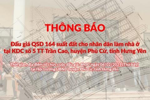 Đấu giá QSD 164 suất đất ngày 06/02/2021 tại TT Trần Cao, Phù Cừ, tỉnh Hưng Yên