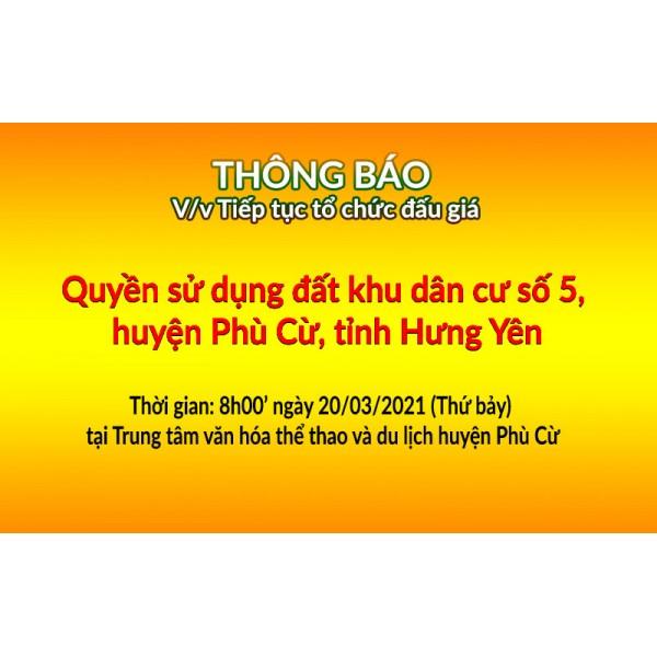 Tiếp tục tổ chức đấu giá QSD đất ngày 20-03-2021 KDC số 5