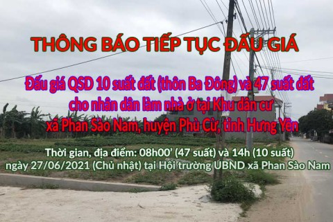 Thông báo tiếp tục tổ chức 02 phiên đấu giá tại xã Phan Sào Nam huyện Phù Cừ