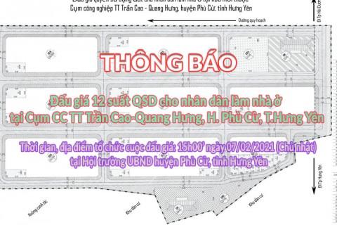 Đấu giá QSD 12 suất đất ngày 07/02/2021 tại UBND huyện Phù Cừ, tỉnh Hưng Yên