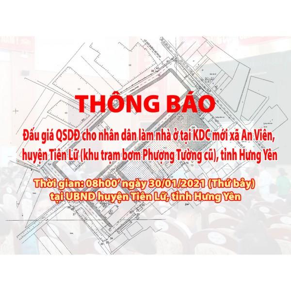 Đấu giá QSD 06 suất đất ngày 30/01/2021 tại UBND huyện Tiên Lữ, tỉnh Hưng Yên