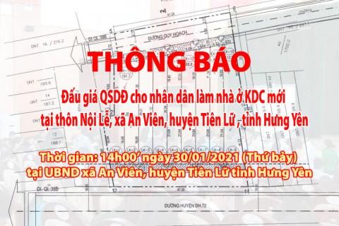 Đấu giá QSD 10 suất đất ngày 30/01/2021 tại xã An Viên, huyện Tiên Lữ, tỉnh Hưng Yên