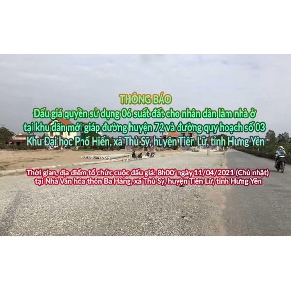 Đấu giá QSD 06 suất đất ngày 11/04/2021 tại xã Thủ Sỹ, H.Tiên Lữ, tỉnh Hưng Yên