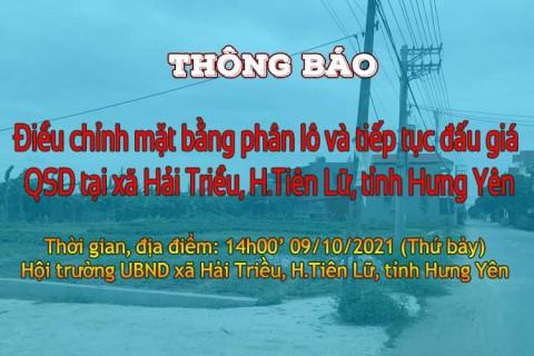 Điều chỉnh mặt bằng phân lô và tiếp tục đấu giá QSD đất ngày 09/10/2021 tại xã Hải  Triều, H.Tiên Lữ, tỉnh Hưng Yên