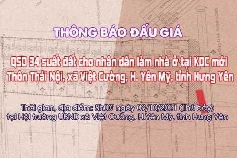 Đấu giá QSD 34 suất đất ngày 09/10/2021 tại xã Việt Cường, H.Yên Mỹ, tỉnh Hưng Yên
