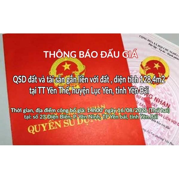 Đấu giá QSD thửa đất tại TT Yên Thế, huyện Lục Yên, tỉnh Yên Bái ngày 16/08/2021