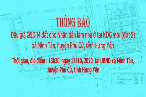Thông báo Đấu giá QSD đất ngày 17 tháng 10 năm 2020 xã Minh Tân (đợt 2)