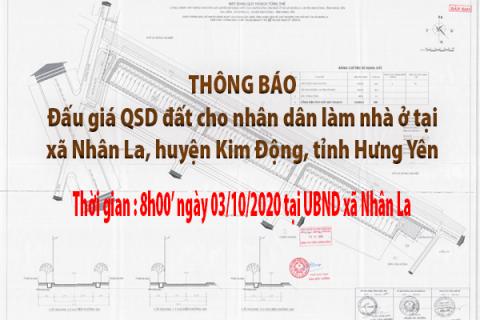 Đấu giá QSD đất ngày 03 tháng 10 năm 2020 - Khu đất xã Nhân La