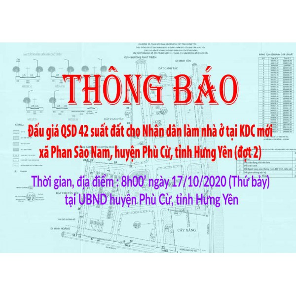 Đấu giá QSD đất ngày 17/10/2020 KDC mới xã Phan Sào Nam, huyện Phù Cừ, tỉnh Hưng Yên