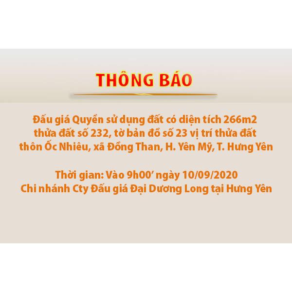 Thông báo Đấu giá Quyền sử dụng 266m2 đất  thôn Ốc Nhiêu, xã Đồng Than, H. Yên Mỹ, T. Hưng Yên