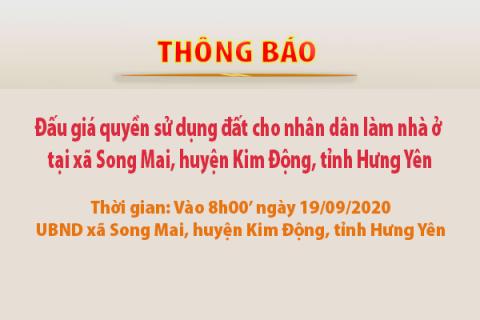 Thông báo Đấu giá tài sản ngày 19 tháng 09 năm 2020 - Khu đất xã Song Mai