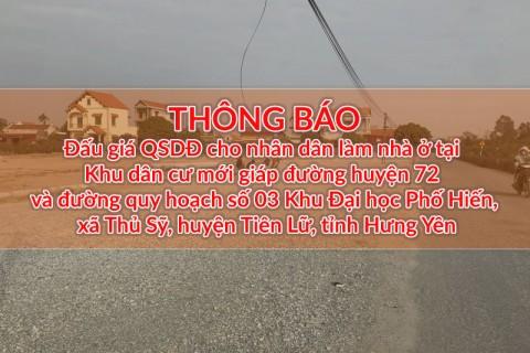 Đấu giá QSD 49 suất đất ngày 19/12/2020 tại xã Thủ Sỹ, H.Tiên Lữ, tỉnh Hưng Yên