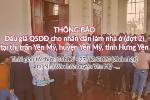 Đấu giá QSD 27 suất đất ngày 27/12/2020 tại TT Yên Mỹ, H.Yên Mỹ, tỉnh Hưng Yên