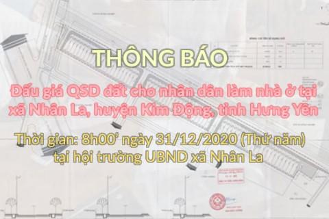 Đấu giá QSD đất ngày 31 tháng 12 năm 2020 - Khu đất xã Nhân La, huyện Kim Động