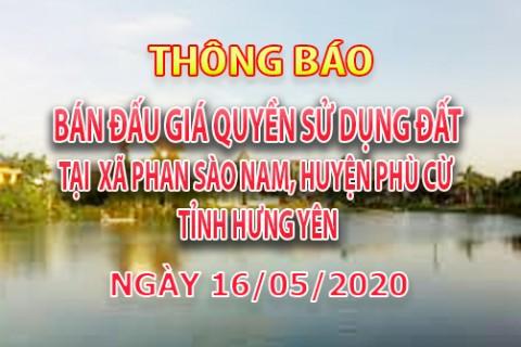 Đấu giá QSD đất KDC mới xã Phan Sào Nam, huyện Phù Cừ