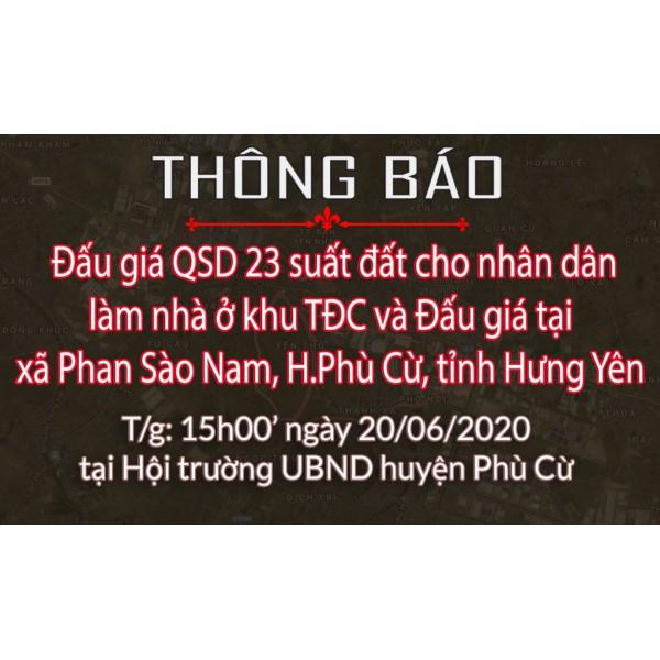 Thông báo Đấu giá tài sản ngày 20.06.2020 xã Phan Sào Nam - Phù Cừ (đợt 3)