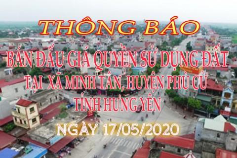 Thông báo Đấu giá QSD đất ngày 17 tháng 05 năm 2020 xã Minh Tân