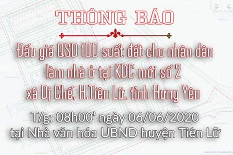 Thông báo Đấu giá tài sản ngày 06.06.2020 xã Dị Chế - huyện Tiên Lữ