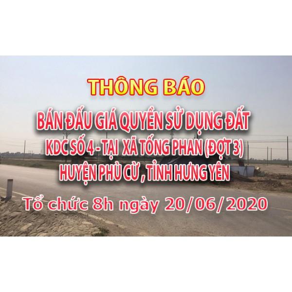 Đấu giá QSD đất KDC số 4 xã Tống Phan ngày 20.06.2020 (đợt 3)