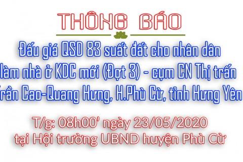 Thông báo Đấu giá tài sản ngày 23 tháng 05 năm 2020 - Trần Cao - Quang Hưng