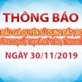 Thông báo Đấu giá tài sản ngày 30 tháng 11 năm 2019  tại Phường dị sử (đợt 2)