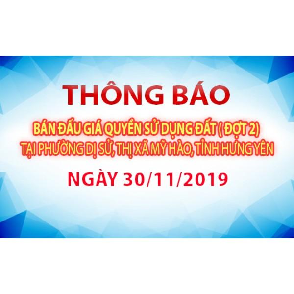Thông báo Đấu giá tài sản ngày 30 tháng 11 năm 2019