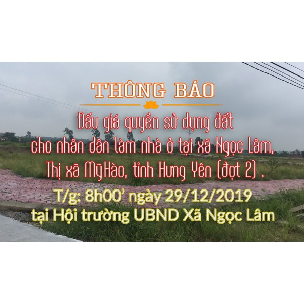 Đấu giá quyền sử dụng đất cho nhân dân làm nhà ở tại xã Ngọc Lâm 29.12, Mỹ Hào - đợt 2