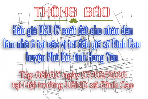 Đấu giá QSD 17 suất đất xã Đình Cao, Phù Cừ, Hưng Yên ngày 07.03.2020