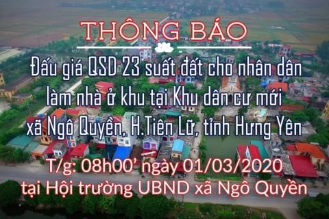 Đấu giá tài sản ngày 01.03.2020 khu dân cư mới xã Ngô Quyền, Tiên Lữ