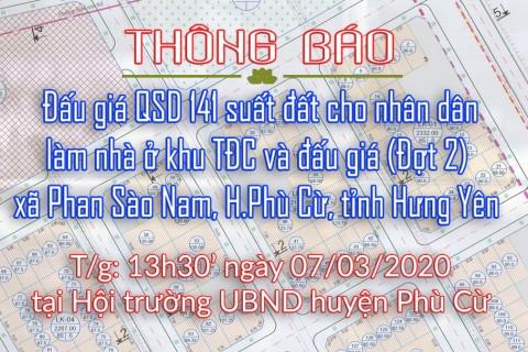 Đấu giá tài sản ngày 07.03 khu tái định cư xã Phan Sào Nam đợt 2
