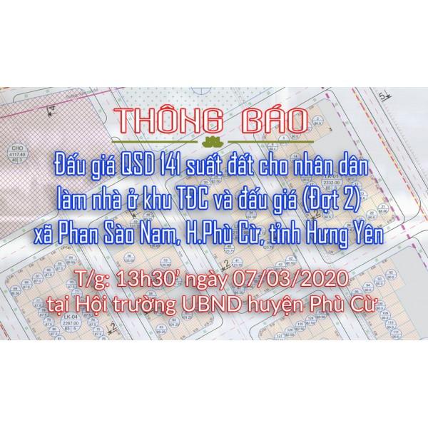 Thông báo bán Đấu giá tài sản ngày 07.03.2020 tại khu tái định cư xã Phan Sào Nam đợt 2