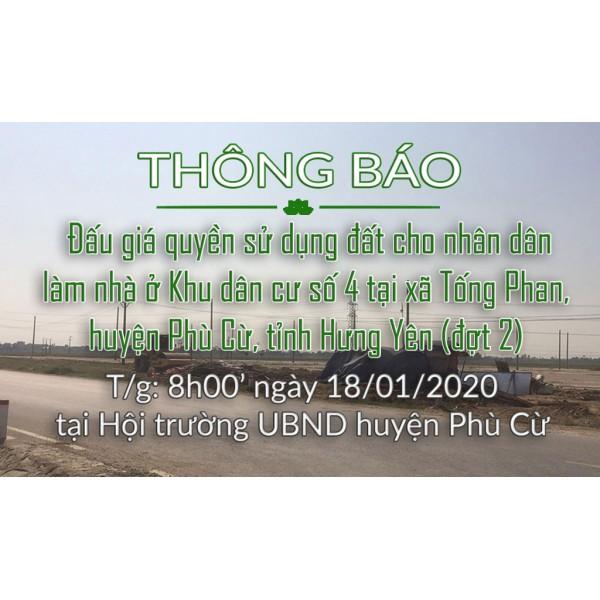 Đấu giá QSD đất KDC số 4 xã Tống Phan ngày 18.01.2020