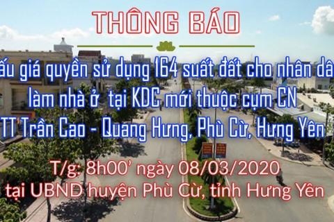 Đấu giá 164 suất đất thị trấn Trần Cao - Quang Hưng ngày 08.03.2020