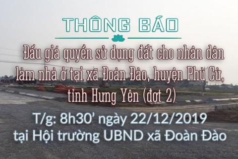 Thông báo Đấu giá tài sản ngày 22 tháng 12 năm 2019 tại xã Đoàn Đào