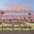 Thông báo Đấu giá tài sản ngày 30 tháng 12 khu tái định cư xã Phan Sào Nam