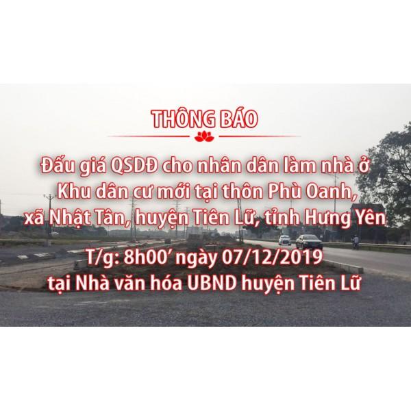 Thông báo bán đấu giá tài sản ngày 07 tháng 12 năm 2019 tại xã Nhật Tân, huyện Tiên Lữ, tỉnh Hưng Yên