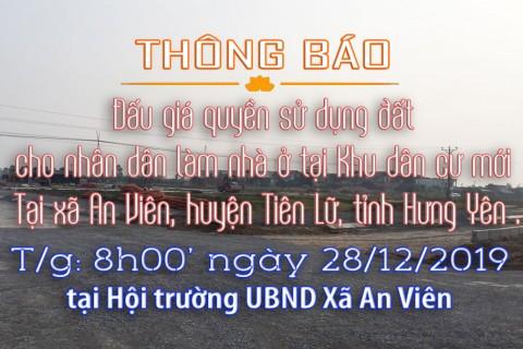 Thông báo Đấu giá tài sản ngày 28 tháng 12 năm 2019 tại xã An Viên - huyện Tiên Lữ