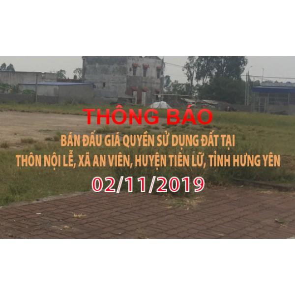 Thông báo Đấu giá tài sản ngày 02 tháng 11 năm 2019