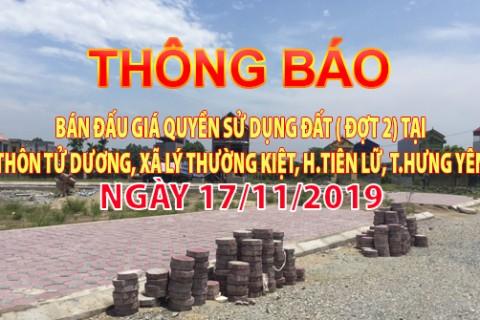 Thông báo Đấu giá tài sản ngày 17 tháng 11 năm 2019